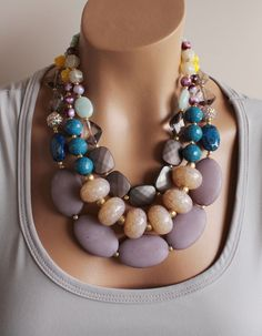 Huge Chunky Colorful Multistrand Statement Necklace, Gray, Beige, Neutral, Multicolor, Anthropologie Necklace,Skipping Stones. $65.00, via Etsy.