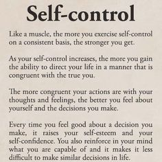 I actually think self control is among one of the most attractive qualities someone can have. So many ppl just do whatever whenever and not give it a second thought. But to have self control demonstrates mental strength and conviction Motivacional Quotes, Life Quotes, Lessons Learned, Life Lessons, Affirmations, Self Discipline, Discipline Quotes, Burn Out, Emotion