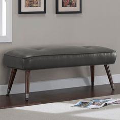 Kelly 48-inch Mid-century Charcoal Bonded Tufted Bench | Overstock.com Shopping - Great Deals on Benches