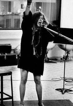 """Janis Joplin cutting her hit single """"Piece of My Heart""""; captured by Daniel Kramer (1968)"""