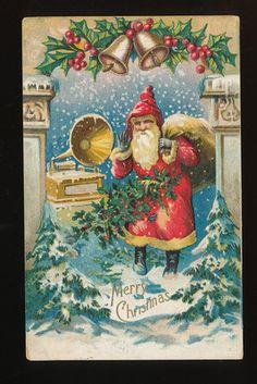 1908 Antique~ Santa Claus~ Christmas  postcard, Phonograph Record Player-eee827