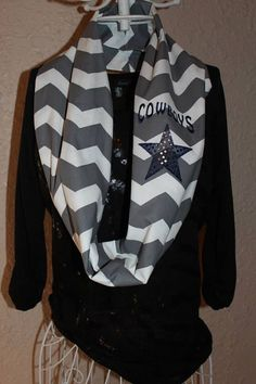 Dallas Cowboys Star Monogram Chevron Infinity by SewSnazzybyBrook, $26.00