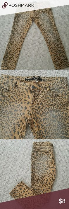 Leopard print jeans Super cute and fun to wear. The Fading you see in pictures is not from wear it's how the pants were made. Jeans Skinny