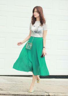Shop this look on Kaleidoscope (skirt, shirt, pumps) http://kalei.do/WuUKrEzIIjTgOOEO