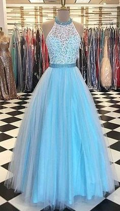 prom dresses,prom dress,A Line Prom Dress,Halter Lace Bodice Prom Gown,Long Tulle Prom Dresses,Sleeveless Long Evening Dresses,Formal Dress
