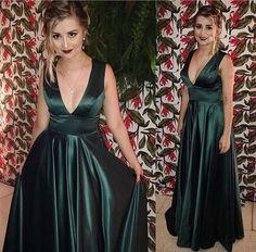 dark green prom dress,v neck prom dress,long evening
