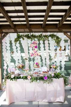 1st birthday garden party dessert table! This was a pink and purple theme with flowers everywhere!