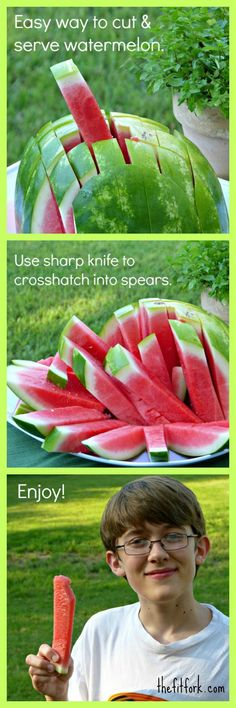 An easy way to cut and serve watermelon -- kids love this healthy snack! /all4watermelon/ #LivingOnTheWedge | http://thefitfork.com
