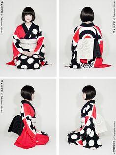 Modern kimono design by Hiroko Takahashi. Furisode Kimono, Kimono Dress, Traditional Kimono, Traditional Dresses, Japanese Textiles, Japanese Kimono, Modern Kimono, Kimono Design, Turning Japanese