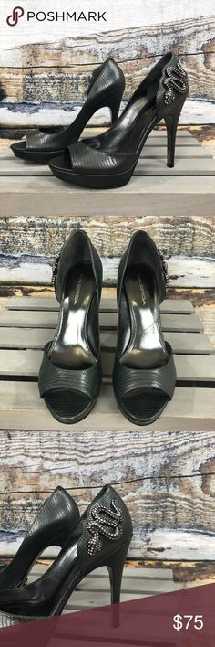 Via Spiga 25th Anniversary Metallic Heels Via Spiga 25th Anniversary Metallic Heels Gray color. Peep toe. Rhinestoned Snake  Pre-loved in excellent condition Size 9  Thank you for checking out our closet. Please feel free to bundle and save! Via Spiga Shoes Heels