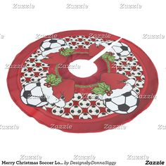 Merry Christmas Soccer Lovers Brushed Polyester Tree Skirt