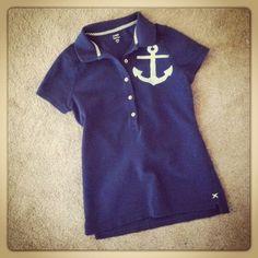 hand stenciled Nautical Anchor polo shirt $15.00, via Etsy.