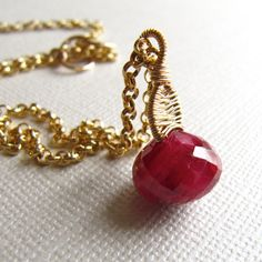 Pendant Necklace Ruby  Wire Wrapped Birthstone by mylenefoster, $127.00
