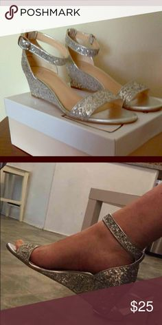 Silver Wedges. Gorgeous 'Roxie' silver 2 inch wedge by BP from Nordstrom. Perfect for wedding or prom. Gently worn once and in excellent condition. bp Shoes Wedges #promheelssparkly