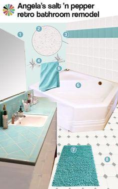 aqua tile bathroom design ideas: salt and pepper tile (tile sink area using pink shower tiles?)