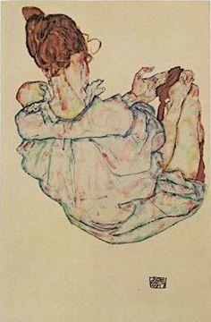 Egon Schiele – - Seated Woman from Behind, 1917 Hard Edge Painting, Painting & Drawing, Egon Schiele Zeichnungen, Egon Schiele Drawings, Drawing Sketches, Art Drawings, Francisco Goya, Gustav Klimt, Animation
