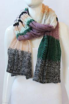 M Missoni Purple, Green & Peach Open Weave Scarf