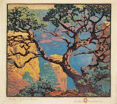 "Gustave Baumann (1881-1971) - Pinon - Grand Canyon. Woodblock Print. 13"" x 13""."