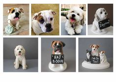 This listing is for a dog wedding cake topper / figurine, which starts at $60 (chalkboard would be an additional $10). You can buy any of the