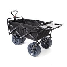 Creative Outdoor Distributor All-Terrain Collapsible Wagon with Shade Canopy (Blue/Black) - Use for Gardening, Tailgating, Beach Trips, Picnics, and More
