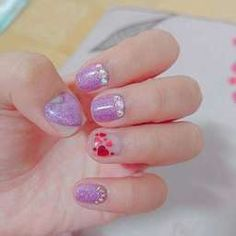 ลายหัวใจ น่ารัก มุ้งมิ้ง Glitter Nail Art, Purple Nails, Nail Design, Beauty, Jewelry, Purple Nail, Jewlery, Jewerly, Nail Desings