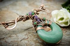 Ananda - Bliss - Neck Torc - Bronze, Green Aventurine and Amethyst, Celtic Torq or Torque Wire Wrapped Jewelry, Wire Jewelry, Jewellery, Neck Piece, Green Aventurine, A Perfect Circle, Favorite Color, Celtic, Bliss