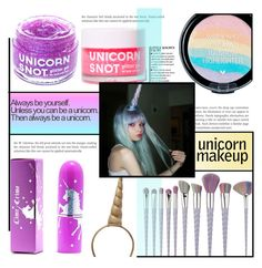 """""""Unicorn Makeup"""" by dolly-valkyrie ❤ liked on Polyvore featuring beauty, Lime Crime, FCTRY, Rice and unicornmakeup"""