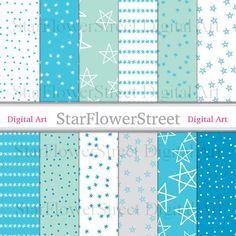 "Snow Digital Paper ""Confetti Stars"" Snowflake Christmas Holiday Turquoise Blue Mint Green star xmas printable scrapbook background by StarFlowerStreetDA"
