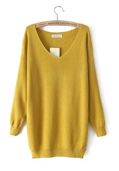 Yellow Plain V-neck Long Sleeve Cotton Blend Sweater