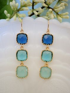 Royal Blue Turquoise  and Aqua Blue CZ Gold by lisadjewelry, $39.00