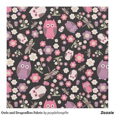 Owls and Dragonflies Fabric