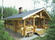 Log Cabin Kit Homes: Kozy Cabin Kits! really big idea for part time living in Alaska (summer's only. Tiny Cabins, Cabins And Cottages, Log Cabins, Amish Cabins, Wooden Cabins, Cozy Cabin, Cozy Cottage, Cottage Ideas, Diy Log Cabin