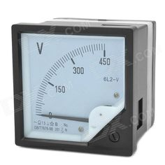 6L2-V Panel AC Voltmeter - Black + White (0~450V)