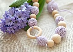 Crochet wooden beads nursing necklace in lavender by nihamaj, $23.00