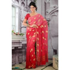 Shaded Peach and Red Faux Crepe Chiffon Saree With Blouse Online Shopping: Chiffon Saree, Bollywood Saree, Festival Wedding, Blouse Online, Indian Ethnic, Indian Sarees, Sari, Fancy