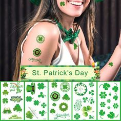 St Patricks Day Tattoos 10 Sheets 60  Styles Shamrock Tattoos St. Patrick's Day Accessories Party Favors Decorations-A HIT for Your Event >>> Click on the image for additional details. (As an Amazon Associate I earn from qualifying purchases) Shamrock Tattoos, Irish Tattoos, Face Stickers, Body Makeup, Four Leaf Clover, Temporary Tattoos, St Patricks Day, Party Favors, Body Art