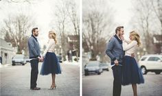 Cute blue tulle skirt in winter engagement session Romantic engagement photo (Rogue Art Photography)
