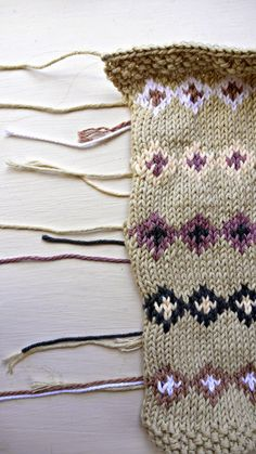 Porcupine Design - fair isle swatches  Nikki Trench fair isle face cloth