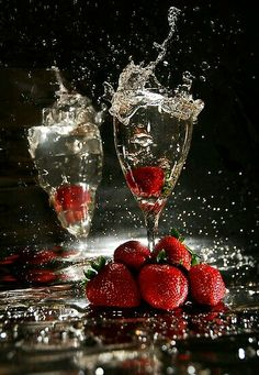 champagne and strawberries on Valentine's Day