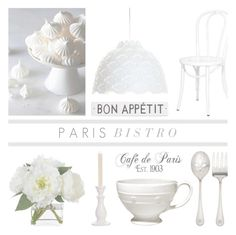 """Paris Bistro '16 - White"" by rachaelselina ❤ liked on Polyvore featuring interior, interiors, interior design, home, home decor, interior decorating, Juliska, Rosanna, Diane James and Louis Poulsen"