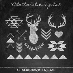 Chalkboard Clipart, Chalkboard Clip Art, Tribal chalkboard clipart, Digital Arrow Clip Art Chalkboard, Instant Download - CD008