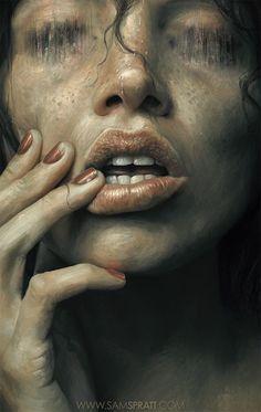 Artist: Sam Spratt {contemporary figurative female head closeup woman face portrait painting}