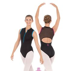 Eurotard 33519 Mia Zipper Front / Mesh Back Leotard - Adult