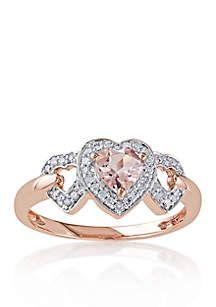 Belk & Co. 10k Rose Gold Morganite and Diamond Three Heart Ring