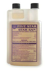 Five Star: Star San Sanitizer 8 oz size by E.C. Kraus. $13.99. A Commercial-Grade Sanitizer That Is Ideal For Sanitizing: Stainless Steel, Glass, Dishes, Etc. Star San Can Be Used In Solution As A Soaking Submersion Sanitizer, A Spray Sanitizer Or Even As A Brush-On Solution. Quick And Effective. Only Requires 60 Seconds Of Contact Time. Easy To Use. No Rinsing Require. Just Allow The Sanitizer To Air-Dry. Safe To Use. Star San Is Completely Biodegradable. It Is Odorless And Fla...