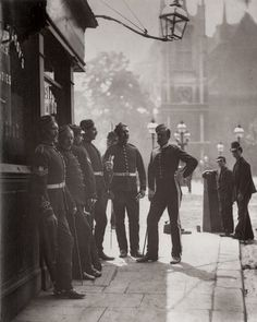 1877 Recruiting Sergeants outside The Mitre and Dove King Street London.