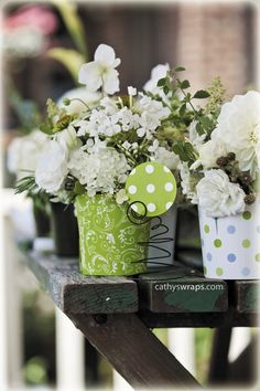 Christmas Decorations & Winter Wedding Flower Pots in Green Polka Dots or Paisley.