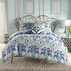Anthology™ Jolie European Pillow Sham in Blue Stripe - BedBathandBeyond.com