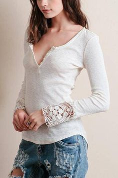 This is a must-have in your wardrobe. The long sleeve top features a sexy V-neck with button front, seam detail at the back, lace cuffs and curved hem. You can wear it along the fall season, or throw it on with your favorite coat when it is colder. ==
