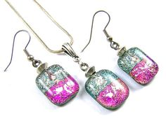 """Dichroic Glass Pet Ashes Cremation Dangle Earrings Pendant Set - Silver Pink Magenta Beaded Drop, 3/4""""/ 20mm, Custom Color Memorial Jewelry"""